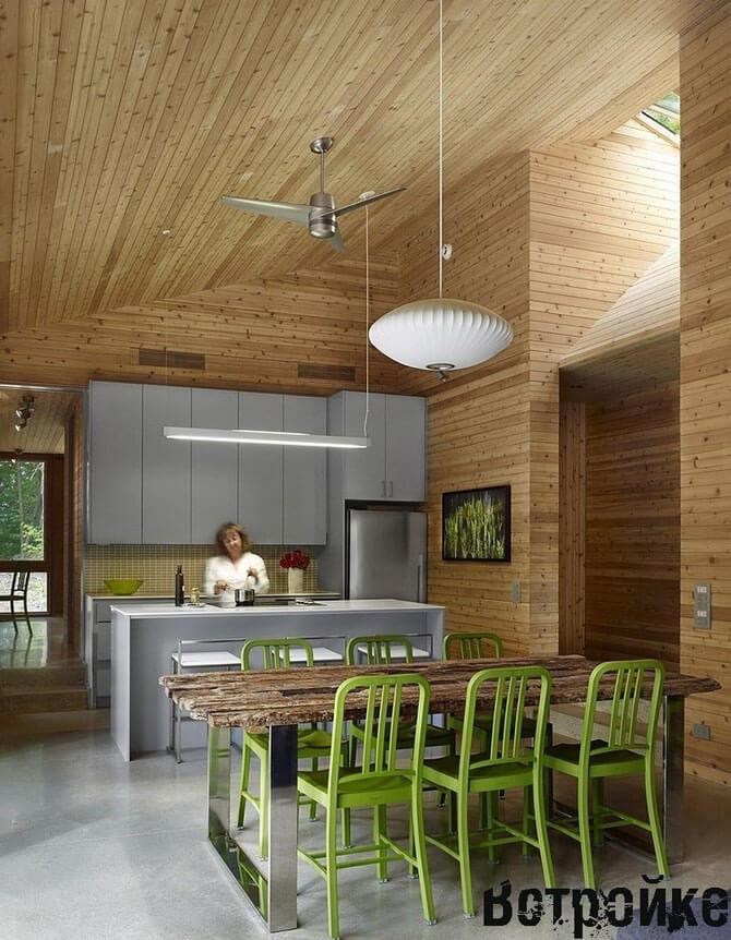 Пол из плитки на кухне в деревянном доме