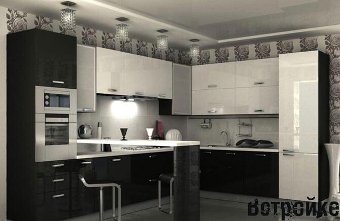 Дизайн кухни черно - белого цвета
