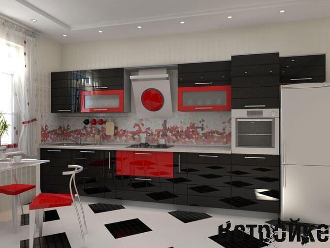 Интерьер кухни черно - белого цвета