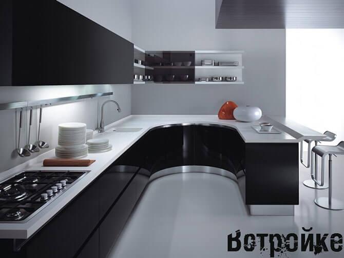 Кухня черно - белого цвета