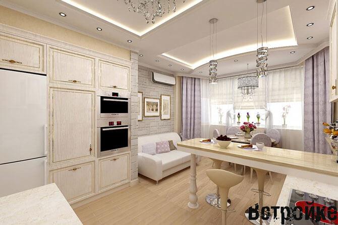 Кухня-гостиная с эркером п44т