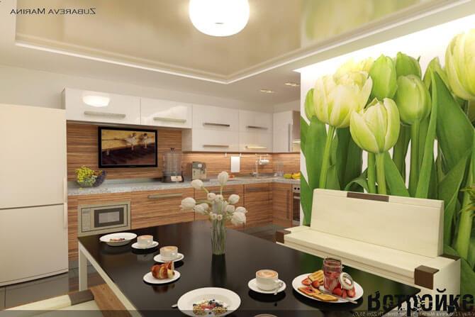 Изображение тюльпанов на стене