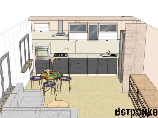 Дизайн проект кухни с окном