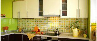 дизайн кухни салатового цвета фото