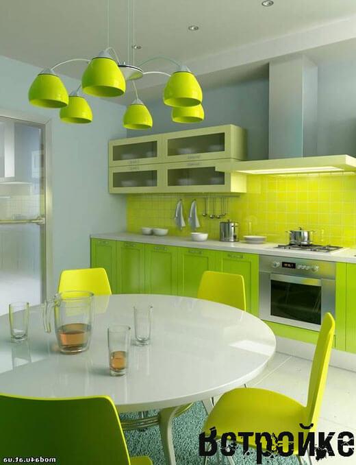Дизайн салатовой кухни