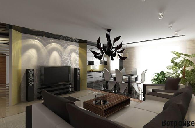Дизайн объединенных кухни столовой гостиной