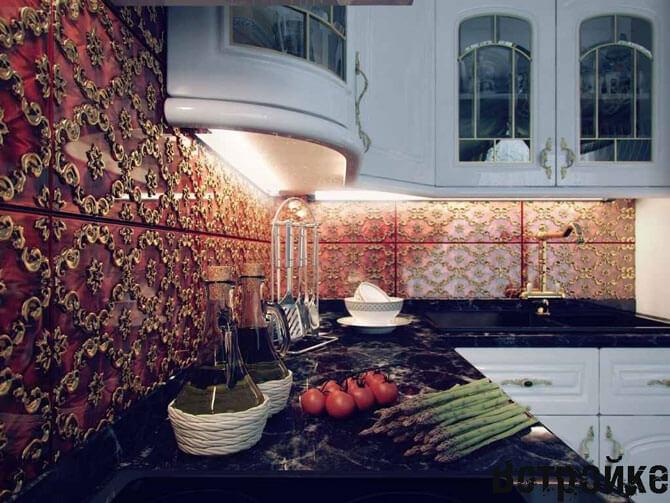 Фартук на кухне из плитки