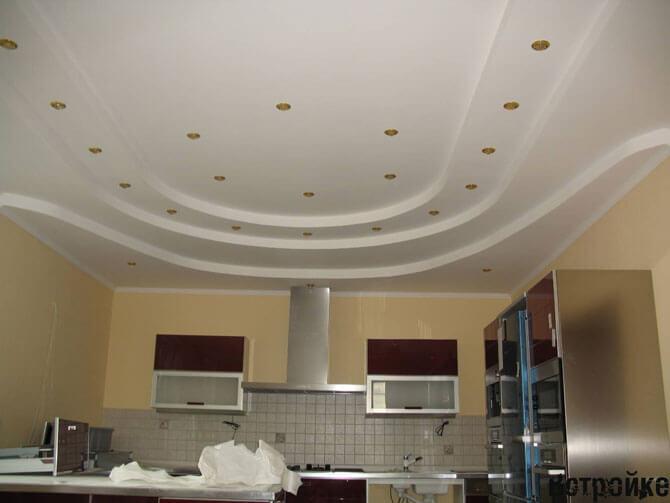 Кухонный многоуровневый потолок из гипсокартона