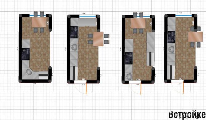 Длинные узкие кухни - варианты планировки