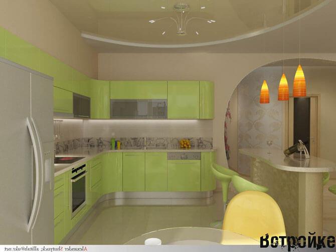Применение зонирования на кухне 12 кв м