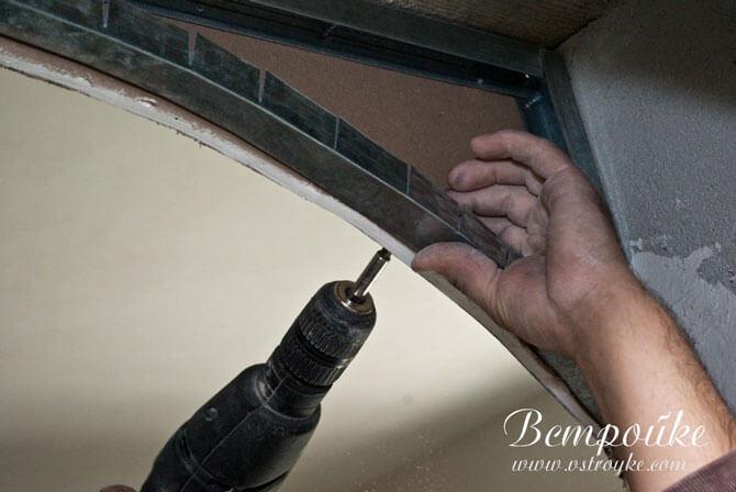 Крепление гипсокартона арки к металлической раме