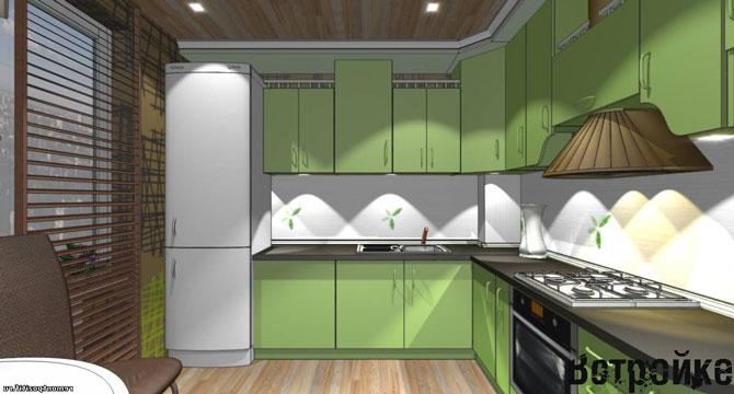 Дизайн проект кухни зеленого цвета