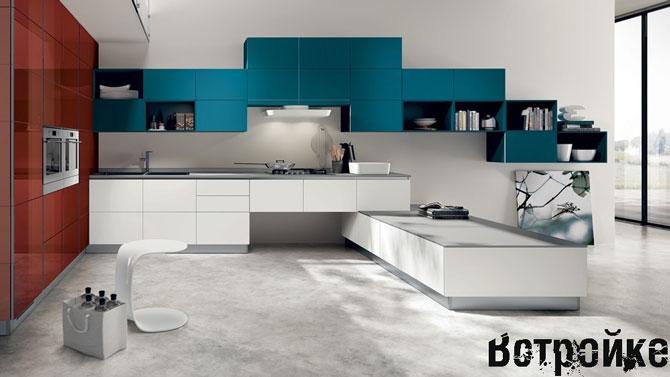 Дизайн цветной кухни