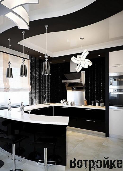 Черные стены на кухне