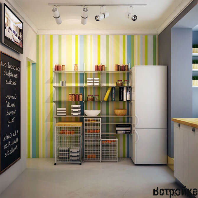 Цветные обои на кухне
