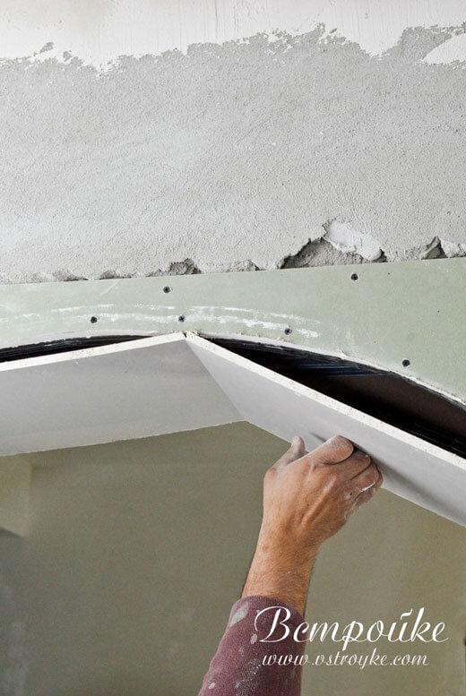 Установка подрезаного гипсокартона арки