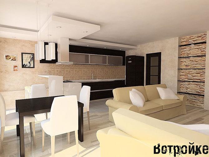 Интерьер гостиной и кухни