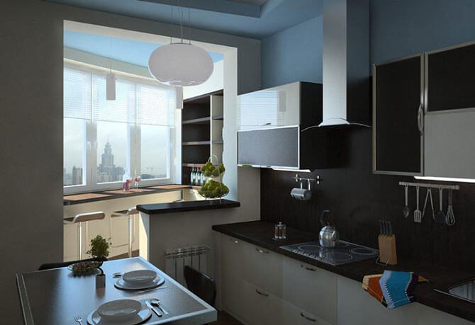 Расположение мебели на кухне совмещенной с балконом