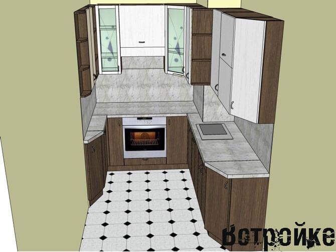 Проект расстановки мебели на маленькой кухне