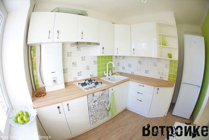 Вариант расстановки мебели на кухне в хрущевке