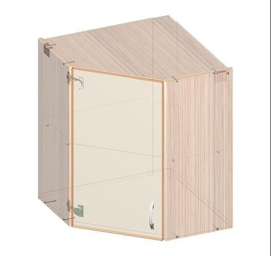 Угловой кухонный верхний шкафчик 600 х 600 х 720 - эскиз