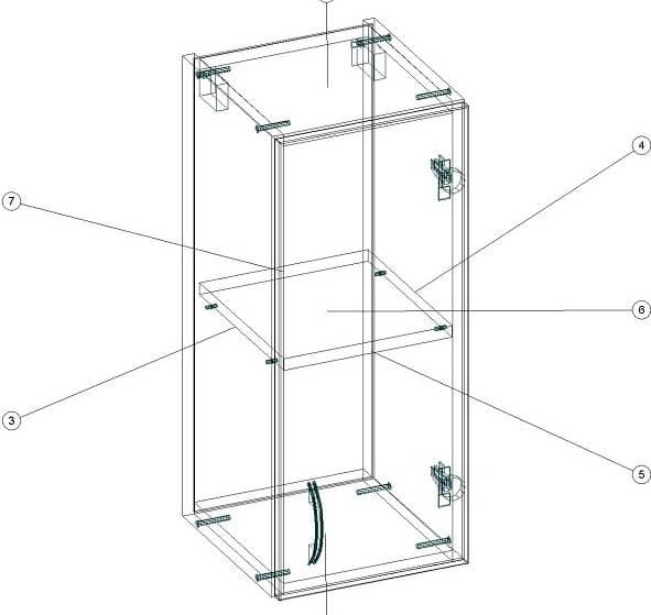 Навесной кухонный шкафчик 300 х 320 х 720 - чертеж