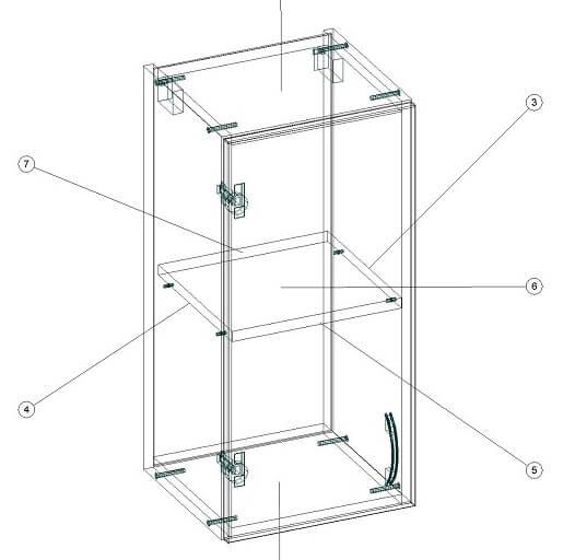 Кухонный верхний модуль 340 х 320 х 720 - чертеж