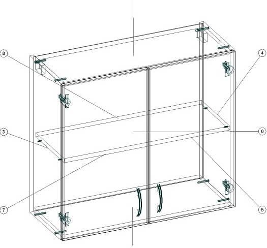 Кухонный верхний модуль 800 х 320 х 720 - чертеж