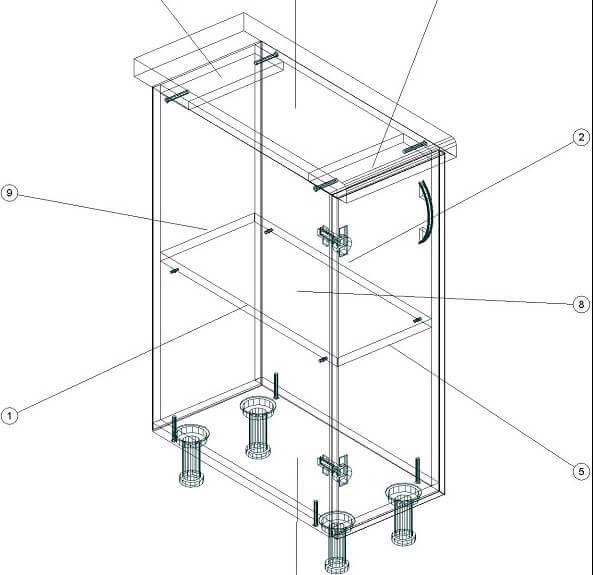 Кухонный нижний модуль 260 х 600 х 820 - чертеж