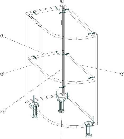 Кухонный нижний радиусный модуль 320 х 600 х 860 - чертеж