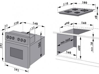 Размеры варочной панели и духового шкафа