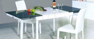 Стол стеклянный белый для кухни