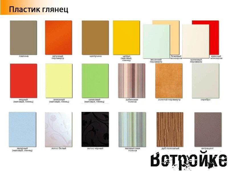 Цветовая палитра глянцевых фасадов для кухни