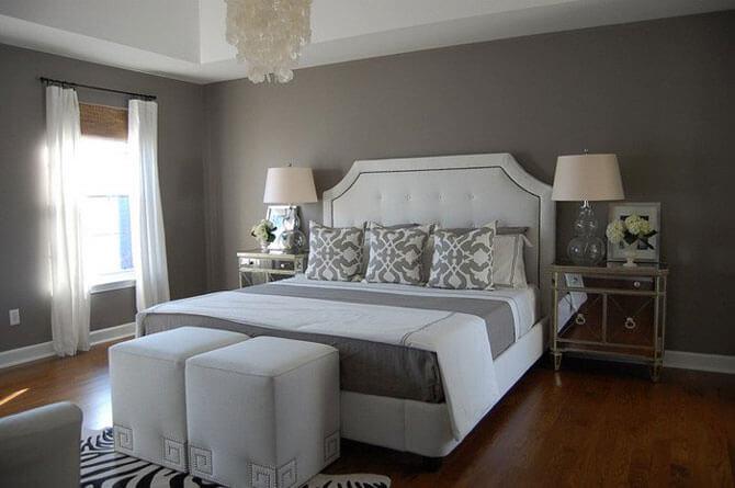 интерьер спальни серого цвета фото