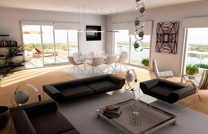 Белые и черные кресла для гостиной