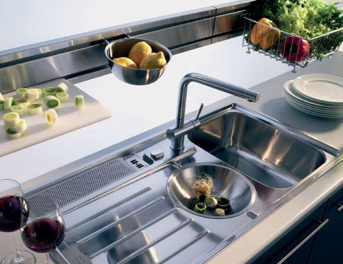 Глянцевая кухонная мойка из металла фото 3